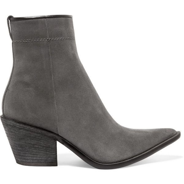 Haider Ackermann Haider Ackermann - Suede Ankle Boots - Anthracite (€920) ❤ liked on Polyvore featuring shoes, boots, ankle booties, suede ankle boots, suede cowboy boots, slouchy suede boots, slouch ankle boots and cowboy boots
