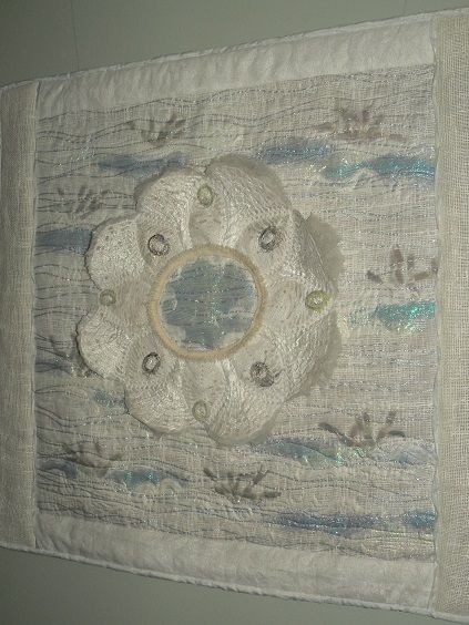 """""""Fairydance"""" Art Quilt work 2010. Fairies dance on the misty swamp if you go to the middle you will be invisible...."""