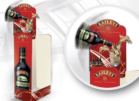 POS display unit. Bailey Case tidy with 3D header for eye-catching retail marketing. *** Design, print and build by The Printed Image in Ireland. ***