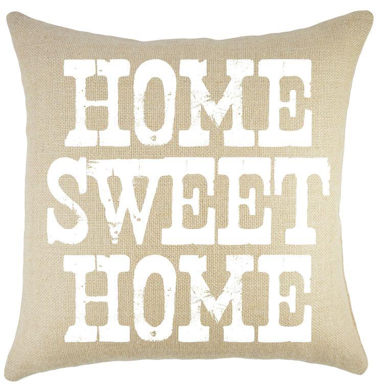 u0027home sweet homeu0027 burlap throw pillow