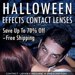 How to Buy Halloween Contact Lenses Online - Special Effects, Halloween, Theatrical & Novelty Contact Lenses We have all the special effects contacts, Halloween contacts, and crazy contacts you'll need to enhance your theatrical or halloween costume. We offer a wide selection of special effect and Halloween contact lenses for you to choose from at the lowest price around. Our selection is sure to change . . . Learn More; http://www.cheapcoloredcontactlenses.net/halloween-contact-lenses/