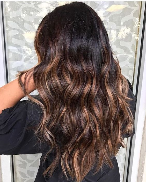 09 wavy black hair with caramel highlights looks natural - Styleoholic