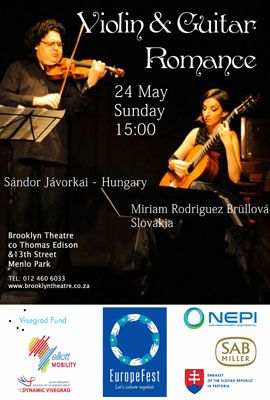 Violin & Guitar Romance Sunday, 24 May 15:00  A magical concert of romantic music for violin and guitar with internationally acclaimed artists. This project is a collaboration of the Slovak Embassy and Salon Music  Sándor Jávorkai, violin (Hungary), Miriam Rodriguez Brüllová, guitar (Slovakia)