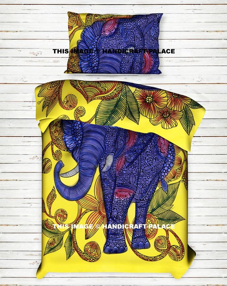 Indian Elephant Bed Sheet / Bedspread / Throw Set #Traditional #Ethnic #Indian #Sheet #Throw #Wall #Hanging #Single #Bohemian #Hippie #Gypsy #Decor #Bedding #Set #Floral #Flower #Love #decorative #Pillow #cushion #case #sham #slip #India #art #Yellow #Blue #color  #Twin #royal #luxury #bedding #room #home #decor #live #life #animal #love #boho #cotton