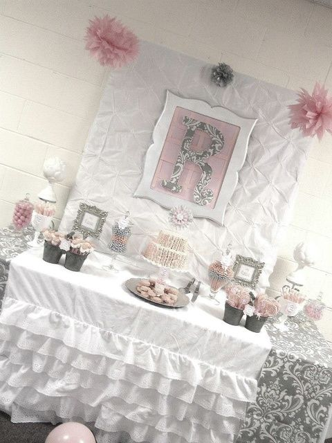Photo 3 of 29: Pink + Grey Damask Baby Shower / Baby Shower/Sip & See Pink + Gray Damask Baby Shower | Catch My Party