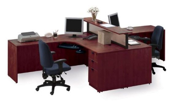 cute desk for 2 people Home Office Desk for Two pictured  Cherry Two Person  Workstation with Divider Cherry Finish by Storlie   ideas for an office. cute desk for 2 people Home Office Desk for Two pictured  Cherry