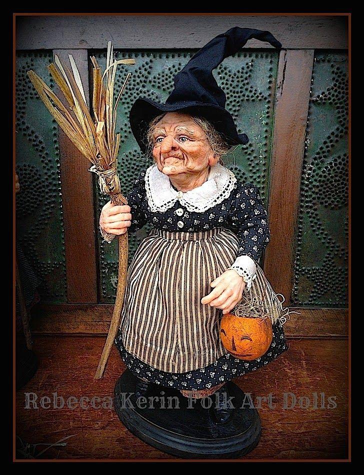 Rebecca Kerin Folk Art Dolls: ~ Fanny Figwort ~ a witch and her broom