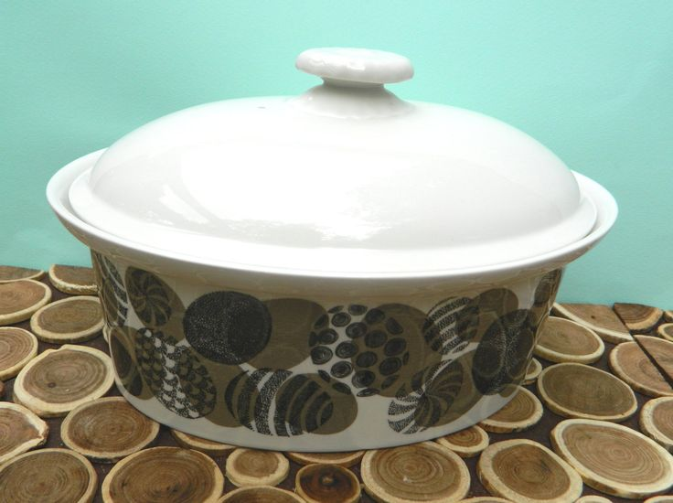 Covered Casserole or Tureen - Arabia of Finland - Black Brown Ivory Egg Pattern - Midcentury Modern Vintage by 20thCKitchenAndTable on Etsy