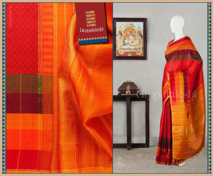 Here is a fabulous saree with paai-weave patterns on the body and checks in various shades of orange-brown on the border. #Utppalakshi #Silksaree#Kancheevaramsilksaree#Kanchipuramsilks #Ethinc#Indian #traditional #dress#wedding #silk #saree #weaving#Chennai #boutique #vibrant#exquisit#weddingsaree#sareedesign #colorful #vivid #indian #southindian #bridal #festival #sophistication https://www.facebook.com/Utppalakshi/ Contact: 097899 37149
