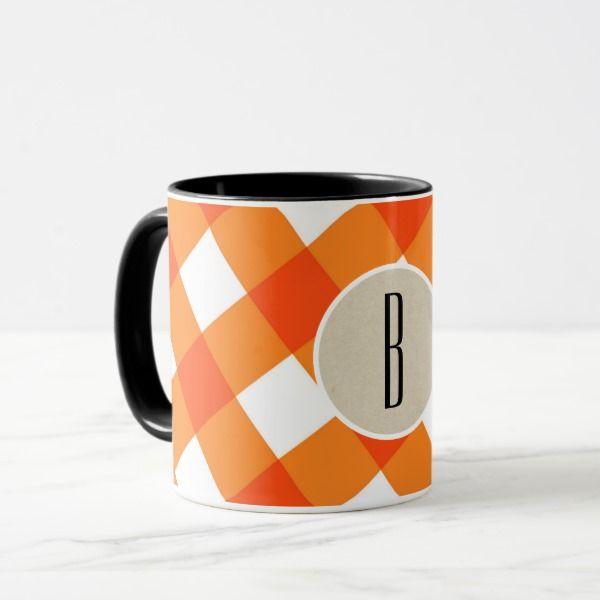 Orange White Plaid Kraft Rustic Monogram Initial Mug #halloween #holiday #drinkware #party #cups