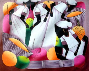Lienzo de Haití arte de Haití arte de la lona por TropicAccents
