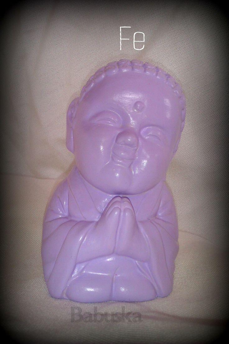 """Buda """"Fe"""" pintado y laqueado a mano"""