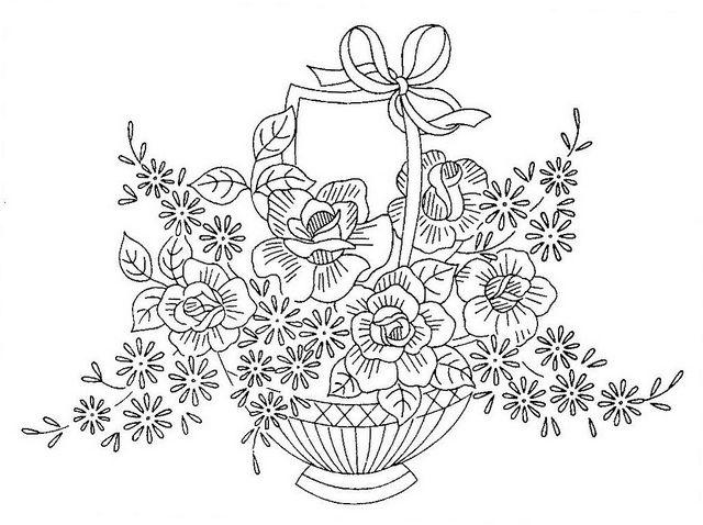 flower basket embroidery pattern