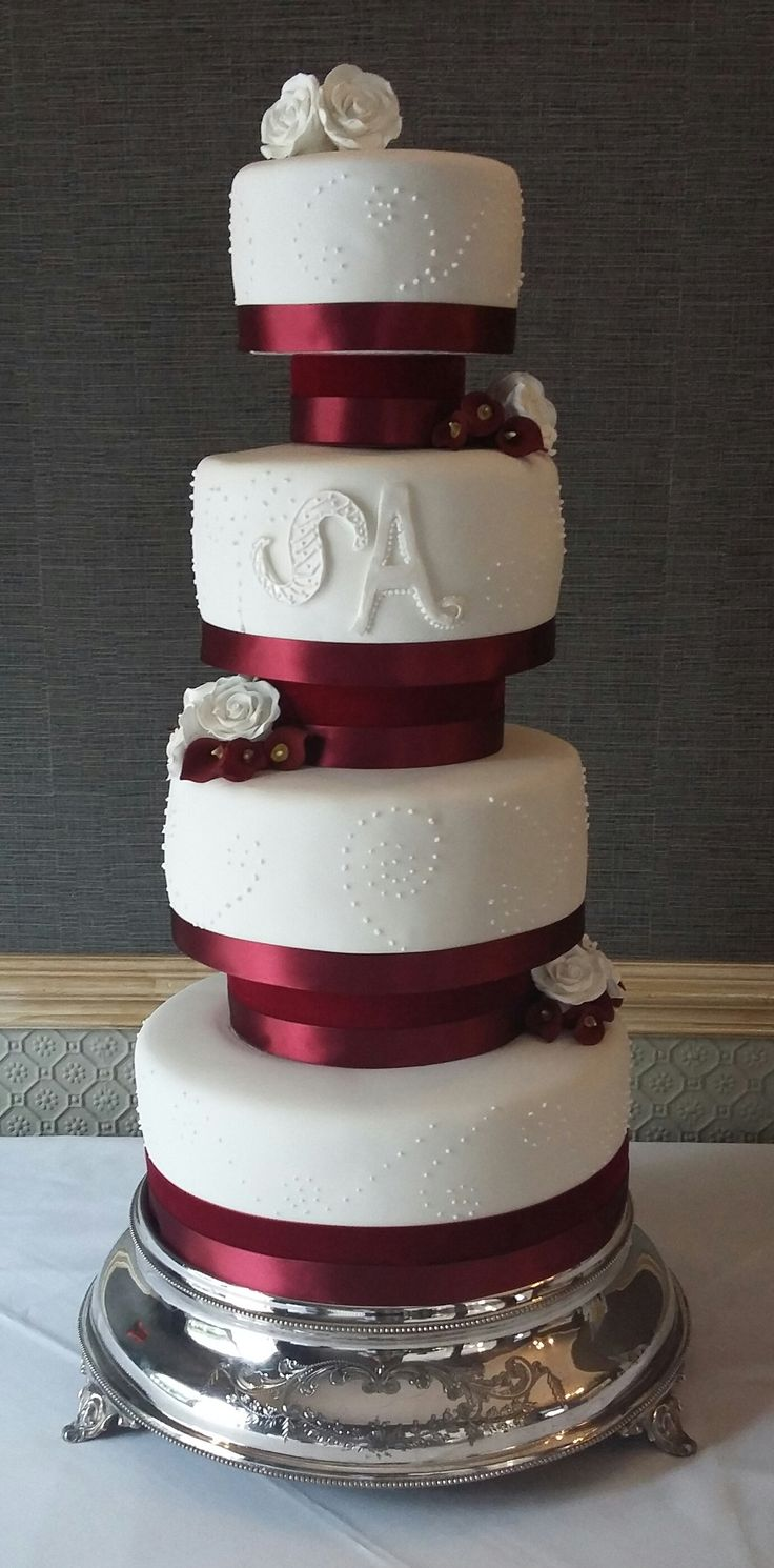 White & Burgundy Wedding Cake - Love the cake stand so much; it was stunning a really added to the height