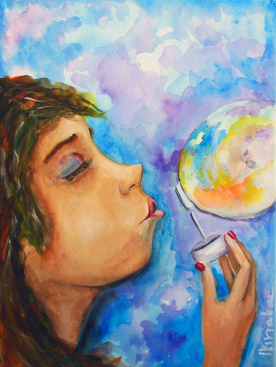 Original Painting  Acrylic on canvas  Girl blowing by PapeMoe