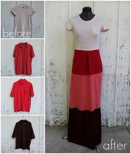 How To Make a Colorblock Dress from T-Shirts by Kristina at Clothed Much
