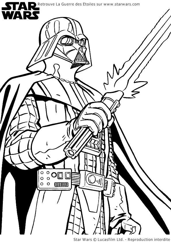A colorier, Dark Vador, l'un des personnages-clé de Star Wars.