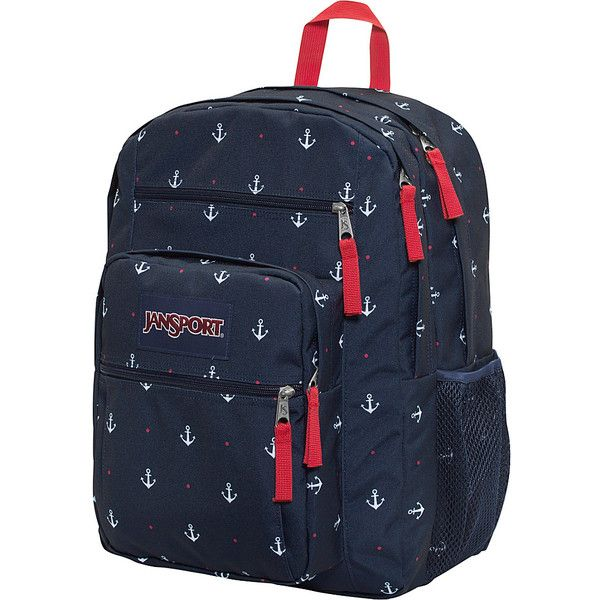 """JanSport Big Student Backpack - 17.5"""" - Red Tape / Land Ahoy - School... ($48) ❤ liked on Polyvore featuring red"""