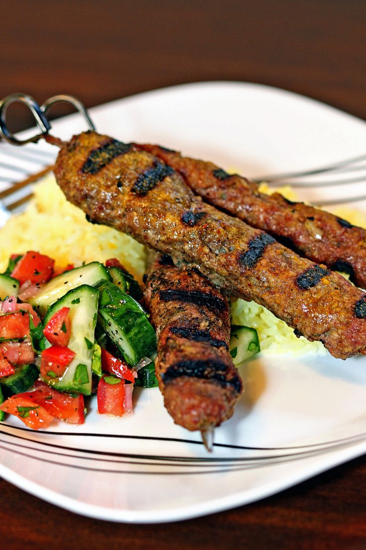 Grilled Lamb and Beef Koobideh Kebabs Persian spices and a saffron butter baste makes these kebabs mouthwatering good!  [NEW RECIPE] on keviniscooking.com