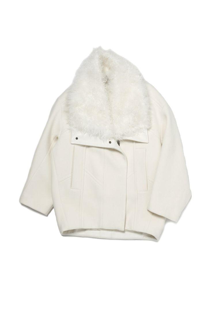 Fur Collar Oversize Coat by Helmut Lang