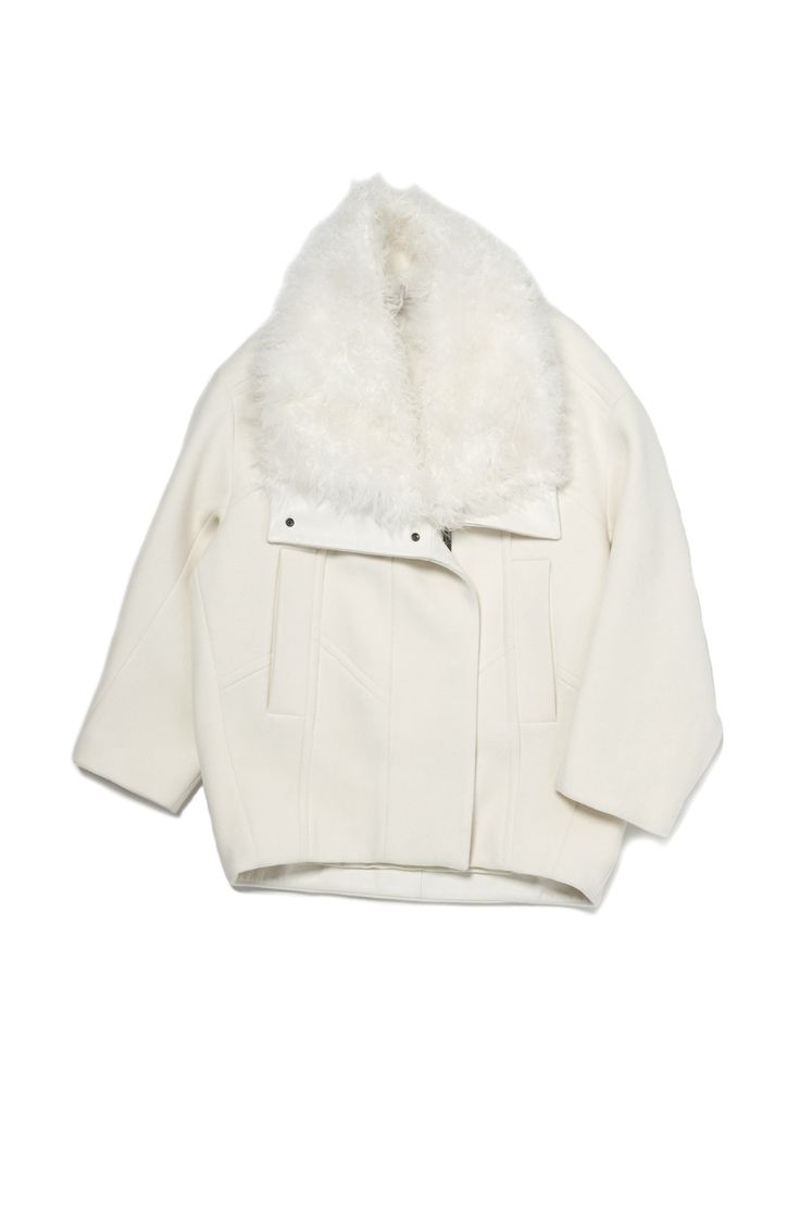 Fur Collar Oversize Coat by Helmut Lang