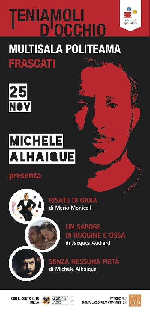 Stasera primo appuntamento di #TeniamoliDocchio con Michele Alhaique al Cinema Politeama di Frascati