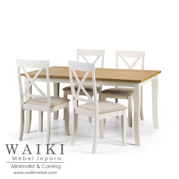 Meja Makan Keluarga Kecil Finishing Duco Jepara kualitas ekspor. Produsen set kursi meja makan keluarga shabby chic 4 kursi cat duco putih Jepara.