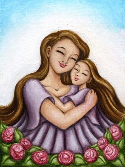 Mother And Daughter Hug, Love Breanna  Mother Daughter Art-1307