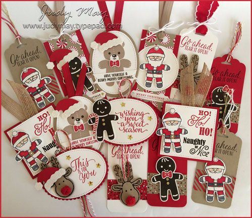 Stampin' Up! - Christmas Tags with stampin Up Candy Cane Lane Suite - Cookie Cutter Christmas stamp & punch By Judy May, Just Judy Designs
