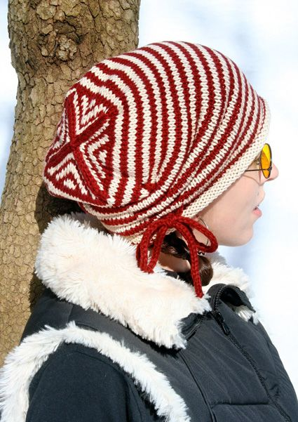 This hat is a candy knitting project. Cast on, knit 'round and 'round, decrease, bind off, wear it!
