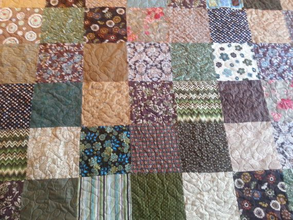 green and brown king size quilt