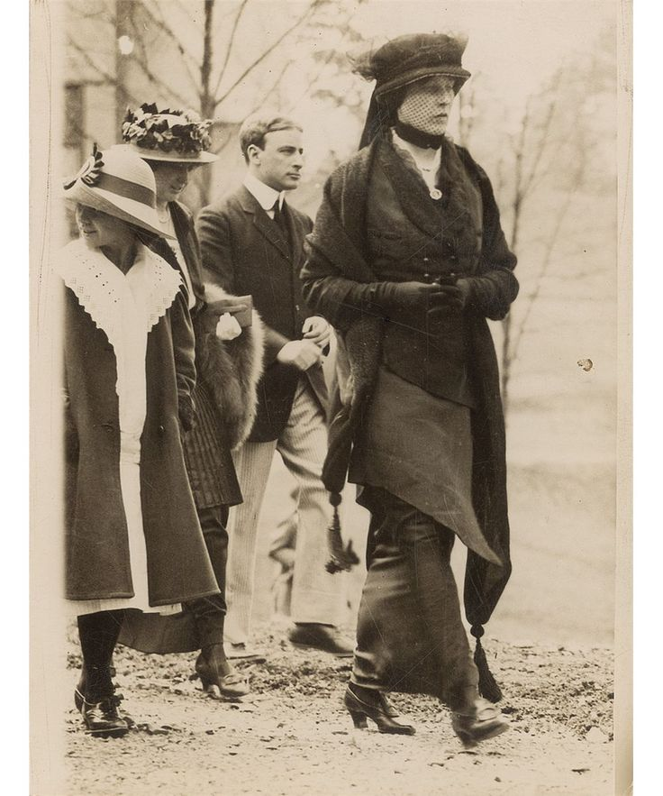 A soigne, if mournful, Madeleine Astor leaving church in White Sulpher Springs on the second anniversary of the disaster.
