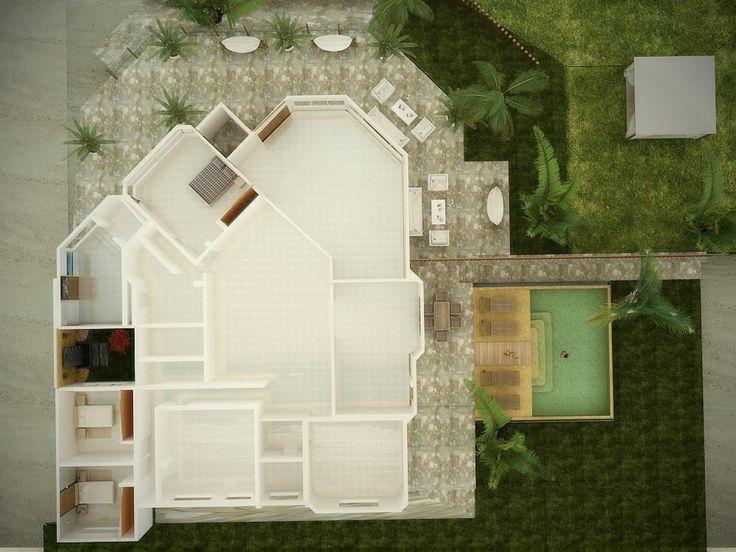 Vista Aérea de planta en 3d , Casa Colán