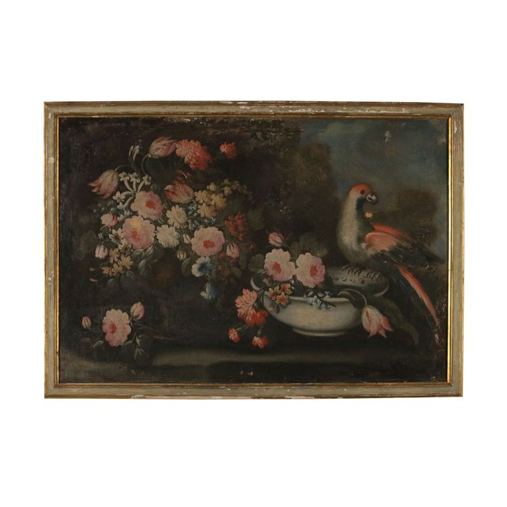 Still life with flowers and parrot 18th century