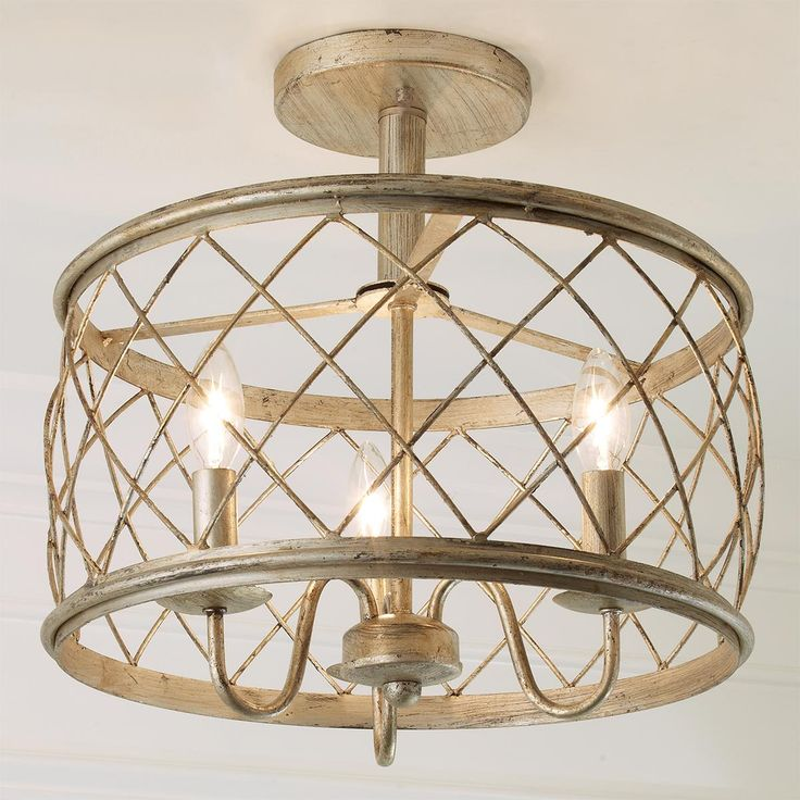 Trellis Cage Semi-Flush Ceiling Light   For Laundry Room
