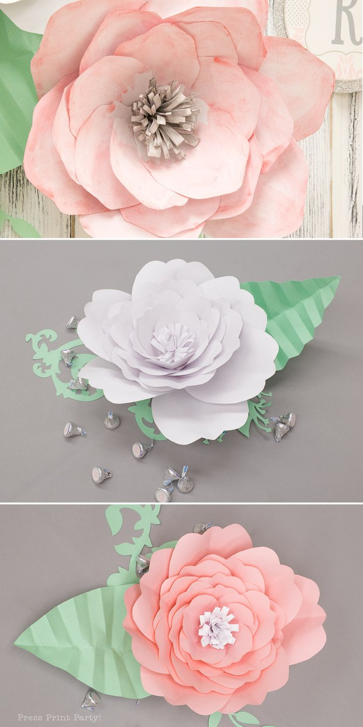 Sweet Vintage Baby Shower Decorations - By Press Print Party!  Learn how to achieve a vintage baby shower look with paper flowers, some printables and a little imagination.  Paper flowers by Abbie Kirsten Collections   Shabby Chic Baby shower ideas for girls, Unique, DIY, decoracion, nina, cheap, on a budget, creative, pink and grey damask