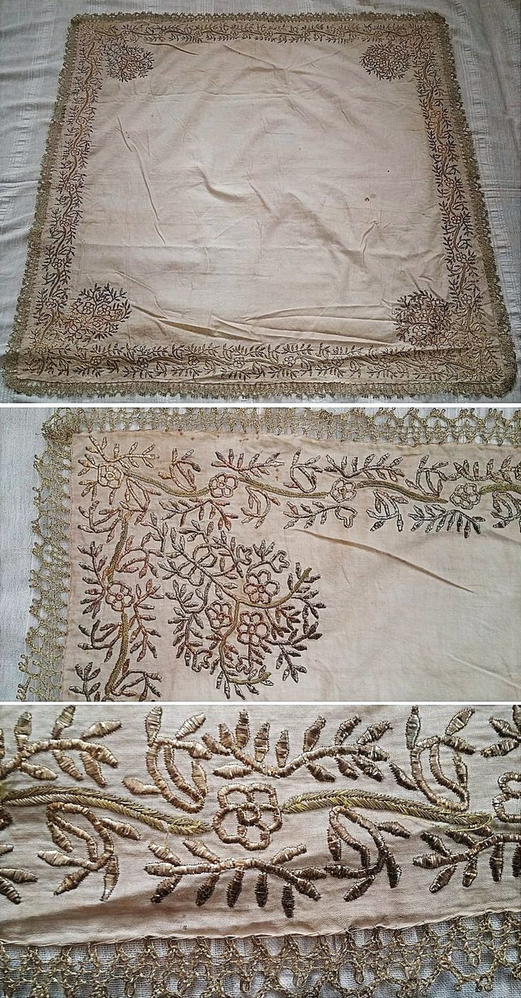 Embroidered 'çevre' (square kerchief; a decorative accessory) from Kozak Yaylası, near Bergama. Late-Ottoman style, first half of 20th century. A design of flowers and branches, embroidered in golden metallic thread and in 'tel kırma'-technique (motives obtained by sticking narrow metallic strips through the fabric and folding them). Edged with silvery Metal thread 'oya' (Turkish lace). (Source: Tekin Uludoğan, Balıkesir).