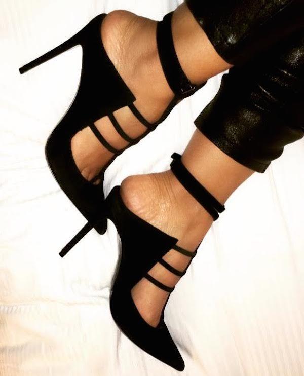 Splurge: Evelyn Lozada's Instagram Barbara Bui Black Suede Multi Strap T-Bar Detail Open-Heeled Stilettos
