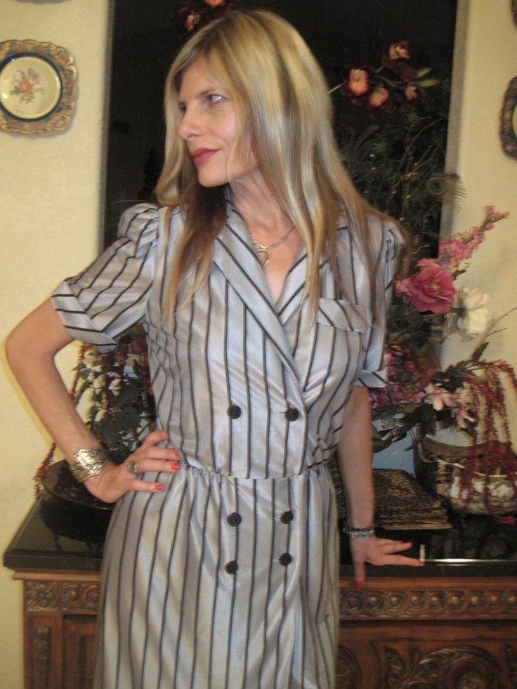 Vintage 80s Slinky Sexy Pinstriped Secretary Modern Pin Up Girl Dress Small  #nolabel #sexydresses80sdressesvintagedressesgreydresseswomensshortsleevedresses #casualCareer