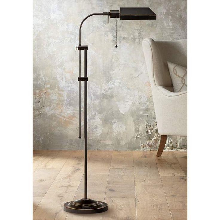 Dark Bronze Adjustable Pole Pharmacy Metal Floor Lamp