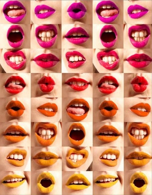 lips, lips, lips. A group of colourful lips.