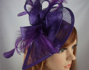 d9a162e8 Purple Teardrop Sinamay Fascinator with Feathers - Wedding Races Special Occasion  Hat