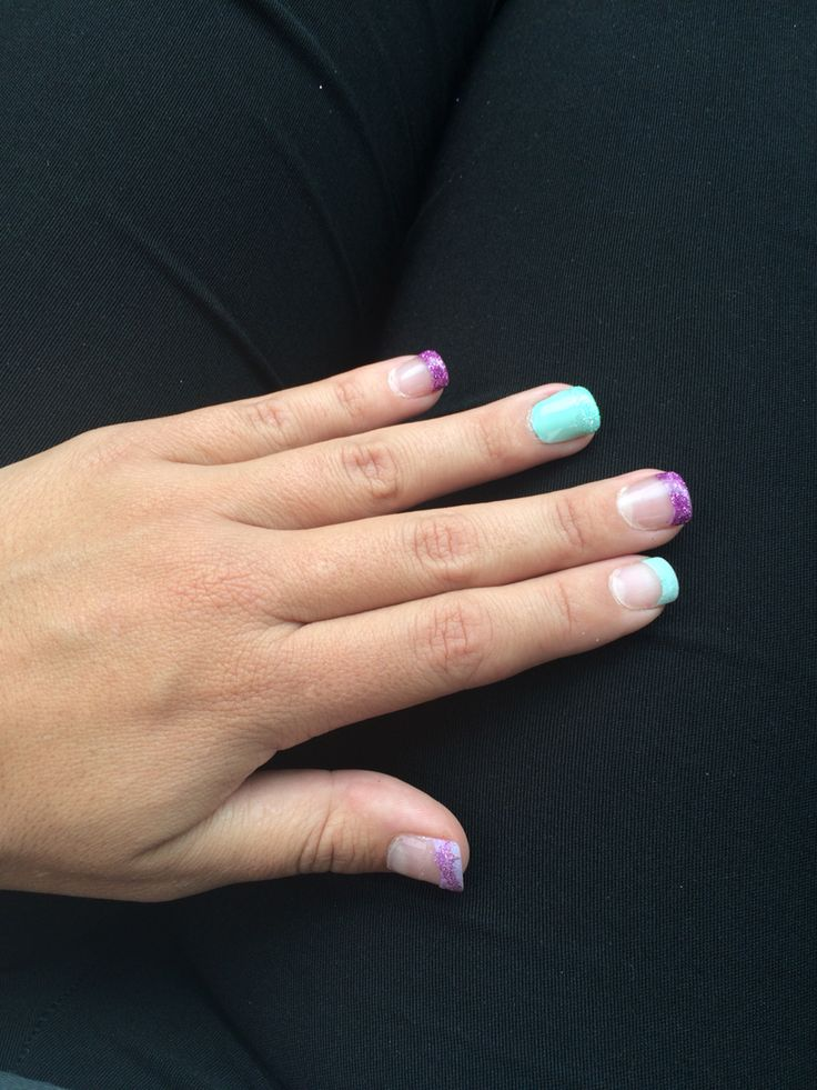 Purple and blue tips nail art