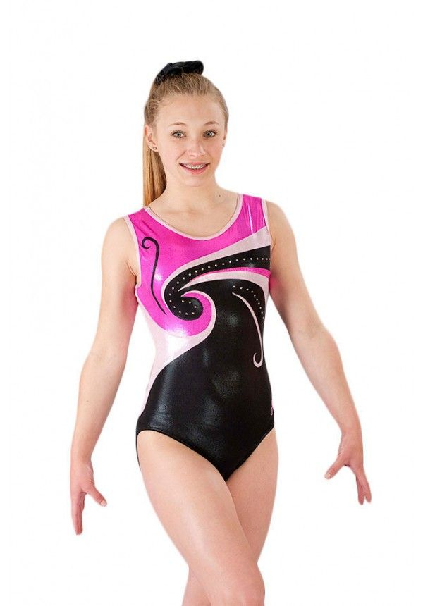 Sleeveless Girls Gymnastics Leotard Pinks And Black