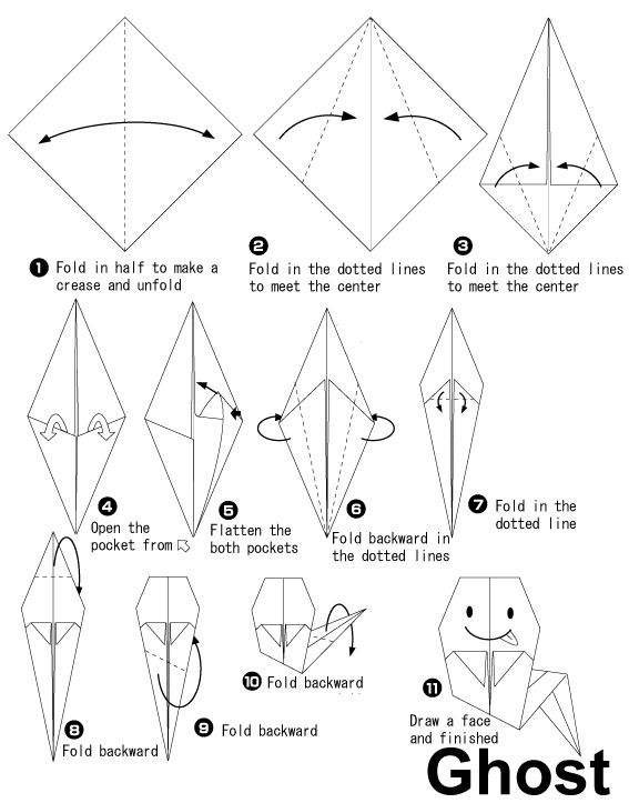 Origami fantôme pour #halloween