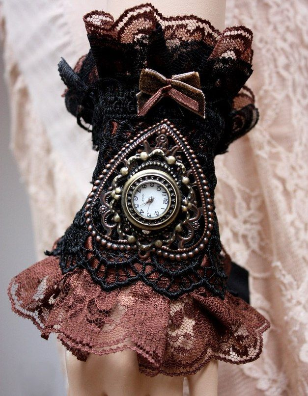 steampunk art - women's lace gloves custom with ring ...