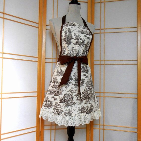 Kitchen As For Women Brown Toile A Full Womens Cooking By Ginnysboutique 34