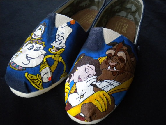 Custom Hand Painted Shoes  Beauty and the Beast by RyTee on Etsy. I can't express how cool it would be to have these!!!