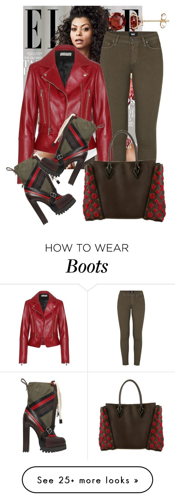 """Boots & Bag"" by perichaze on Polyvore featuring Paige Denim, Balenciaga, Dsquared2, Louis Vuitton, Everlasting Gold, women's clothing, women's fashion, women, female and woman"