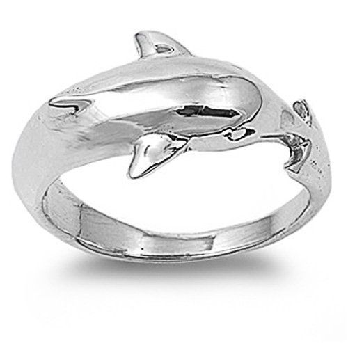 rhodium plated sterling silver wedding engagement ring dolphin ring 12mm size 6 to 10 - Dolphin Wedding Rings